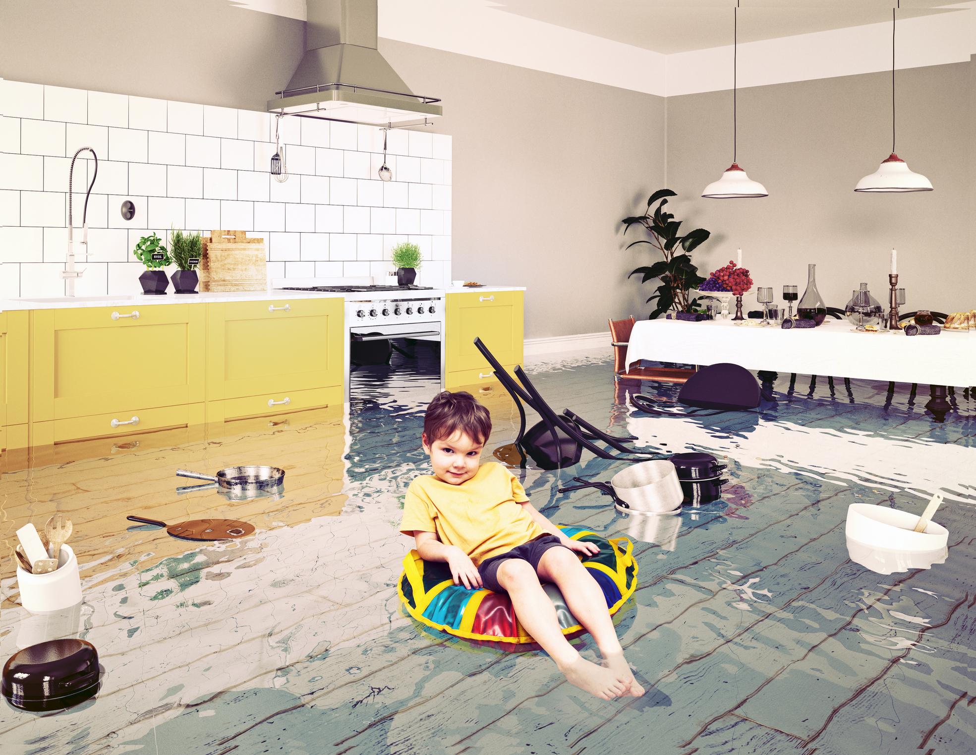 Kid floating in water