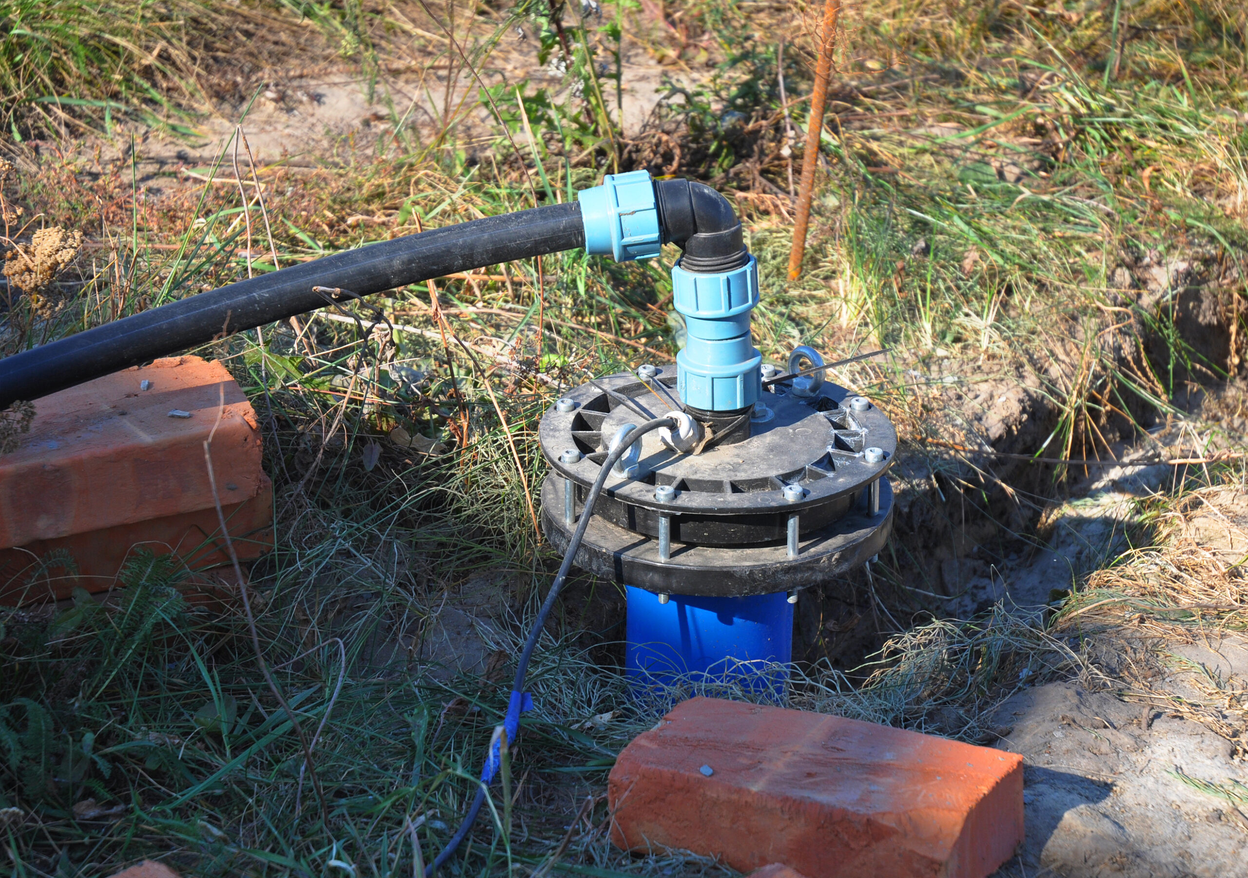 Newly installed water well to clean and filter water.