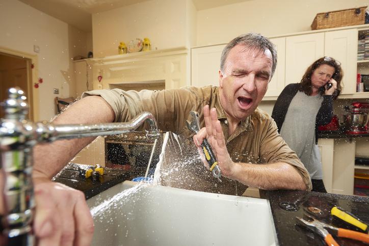 burst pipe in kitchen