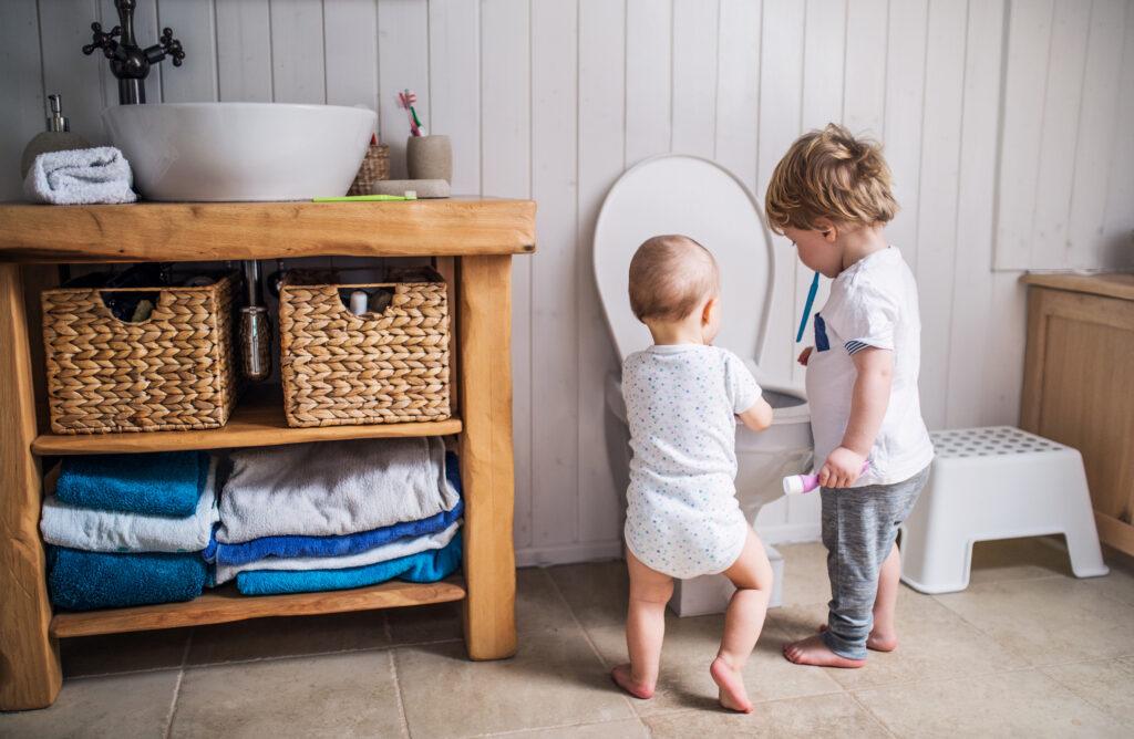 toddlers flushing toilet